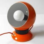 Orange 1970s Danish bubble lamps pair