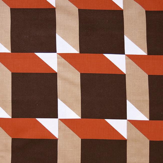 Huge vintage 1970s 3d-effect cubes textile
