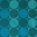 Geometric blues vintage woven textile Danish