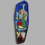 Scraffito & lava wall plaque enamel glazes Italy