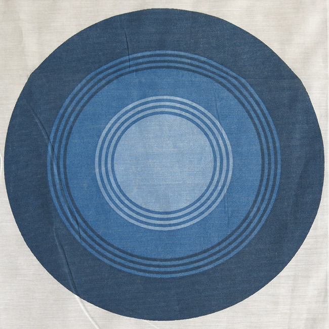 Blue targets curtains pair 1970s as new