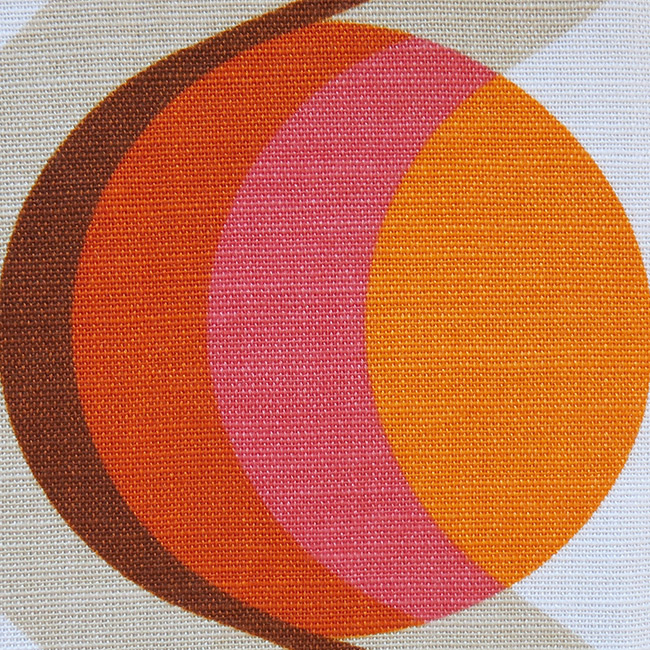 Classic 1960s Orange And Pink Pop Art Fabric
