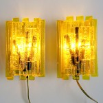 1960s/70s Claus Bolby acrylic wall light pair