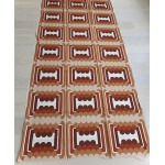 Geometric pop-art fabric in browns and beige