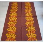 Orange & brown 1970s Inka Print cotton tablecloth