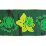 Swedish jute table runner with large flowers print