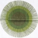Green sunburst targets gauzy fabric mint 1970s