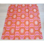 Pinks & orange woven curtain 1960s as new