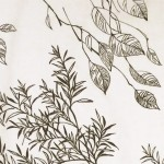 Huge Danish plants textile art print 60s/70s