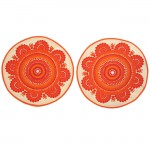 Pair of vintage round mandala table mats