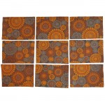 Late 60s orange & brown Molyncke fabric tablemats (9)