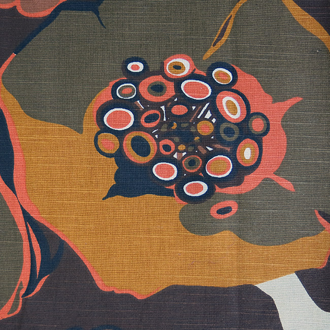 Swedish style semi-abstract cotton fabric 60s