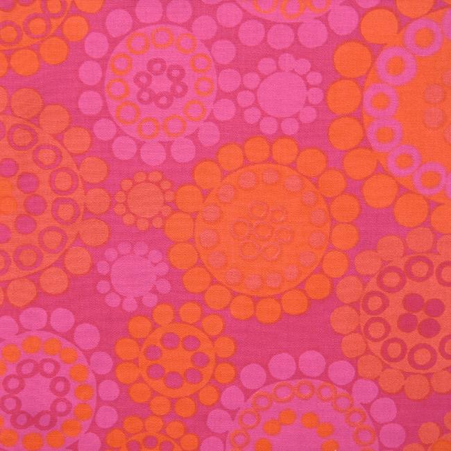 Pink & orange circles within circles fabric 60s