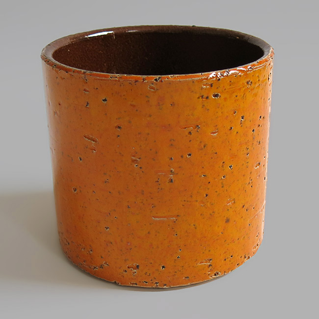 1960s/1970s tangerine orange pottery planter