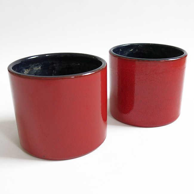 Pair of red vintage German plant pots 1960s/70s
