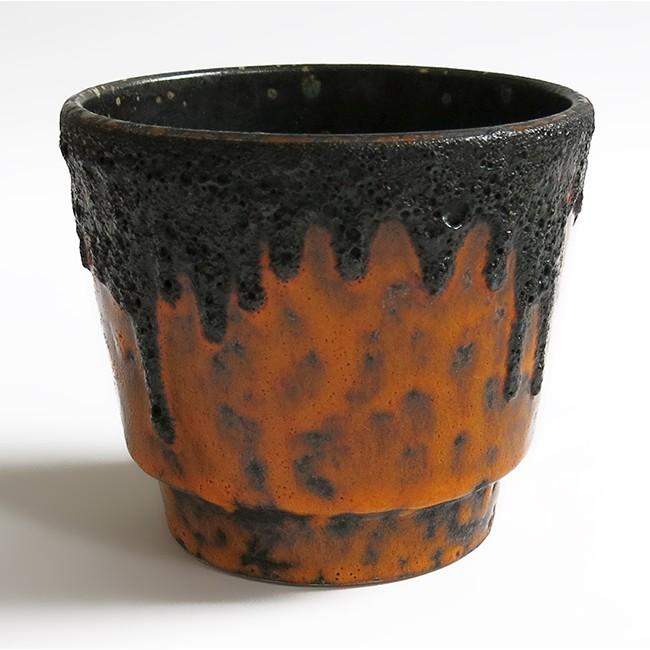 Orange fat lava German pottery planter 60s/70s