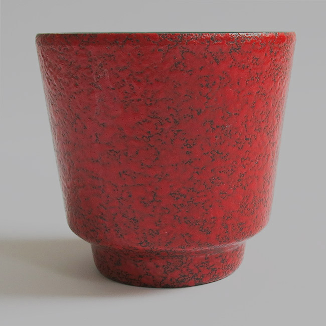 Small red fat lava pottery planter 1960s/70s