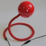 Bright red cobra snake table lamp 60s/70s