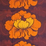 Single curtain by Boras Wavferi of Sweden with bold flowers design, 70s