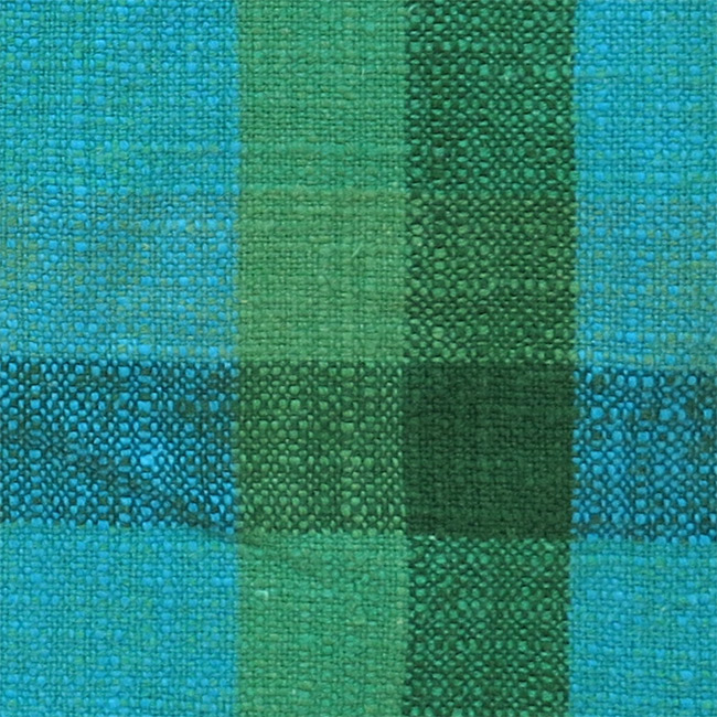 Tablemats (2) Danish 60s green & blue slubbed fabric