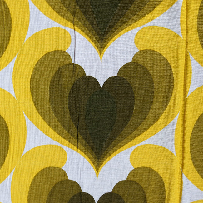 Yellow & green hearts curtains Danish 1970s