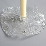 Pukeberg freeform lilypad textured glass candleholder