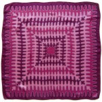 Vintage headscarf with magenta waveform design