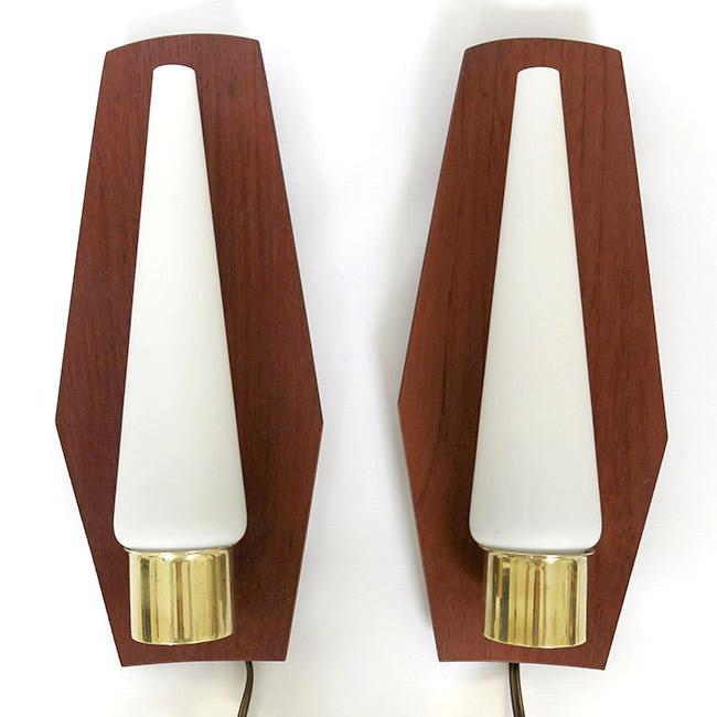 Brass, teak and glass Danish modern wall lamp pair