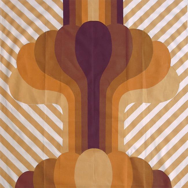 1960s fabric mushroom cloud screenprint art textile