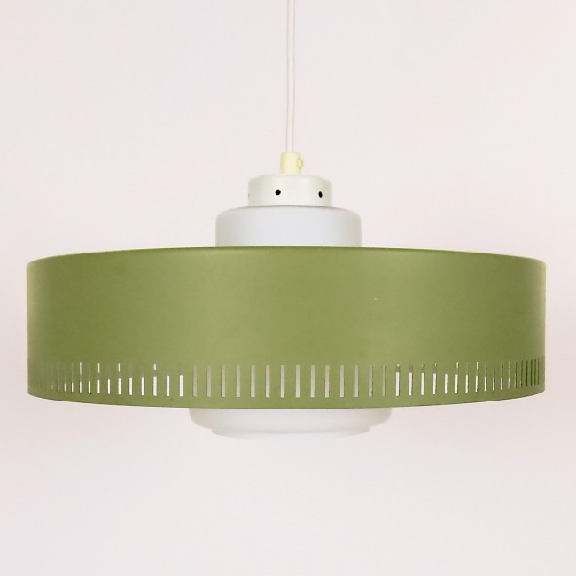 Midcentury 1950s Danish designer cased glass pendant light by Lyfa