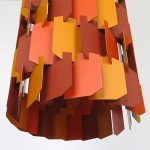 Orange Facet-Pop Danish art light designed by Louis Weisdorf for Lyfa