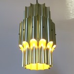 Danish modern pendant light in brass, designed by Bent Karlby for Lyfa, 1960s
