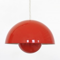 Original red Flowerpot pendant light by Verner Panton for Louis Poulsen