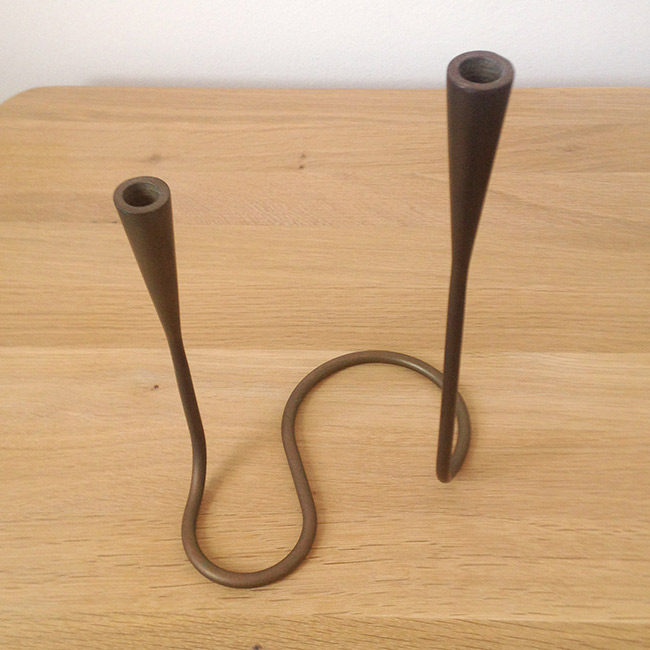 Solid brass Danish modern Illums Bolighus serpentine candleholder, 1950s