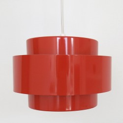 A red Rainbow Line Juno pendant light by Jo Hammerborg for Fog & Mørup