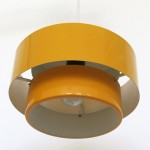 A yellow Rainbow Line Juno pendant light by Jo Hammerborg for Fog & Mørup