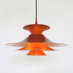 Orange Radius pendant light designed by Erik Balslev for Fog & Mørup