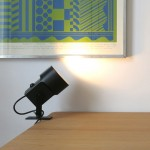 Black LilleBror clip-on shelf/desk/spot lamp by Louis Poulsen of Denmark, 1970s