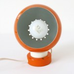 Lampadari Reggiani bright orange magnetic ball lamp made in Italy 1960s/70s