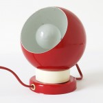 Red multi-use metallic ball lamp made in Denmark by BA, 1960s/70s