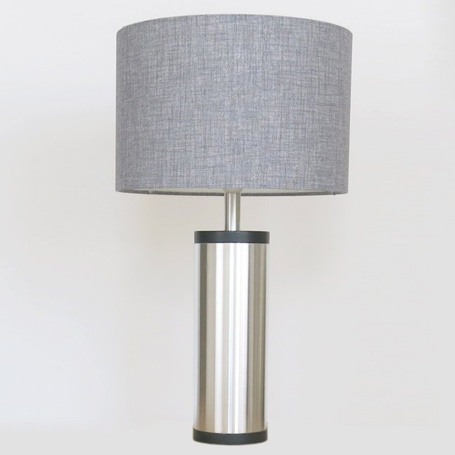 Regent spun aluminium and ebonised wood table lamp by Jo Hammerborg