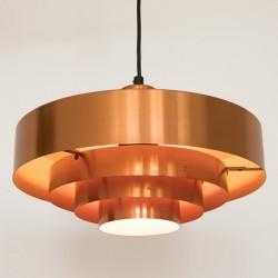 Roulet spun copper pendant light by Jo Hammerborg for Fog & Morup, late 50s