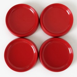 Kristian Vedel set of four shallow red dishes by Torben Ørksov of Denmark