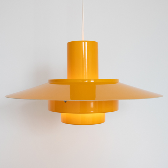 Egg-yolk yellow Falcon pendant light by Andreas Hansen for Fog & Mørup, 1960s