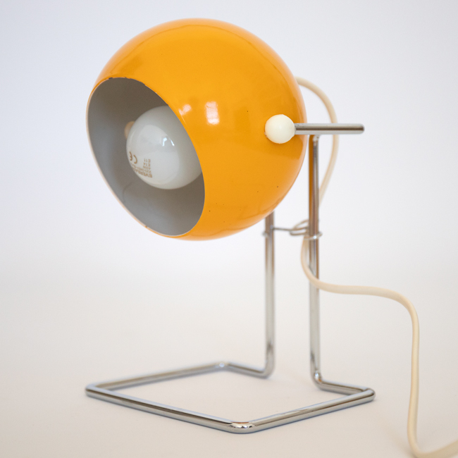 1970s Abo Randers Danish Stat pop art ball lamp in rich egg-yolk yellow