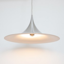 Rare brushed aluminium Fog & Mørup Semi pendant light for Norway, 1960s