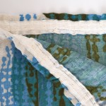 Large curtain with abstract Swedish design in blues and greens, 60s/70s