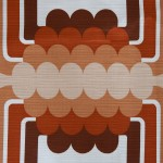 Huge curtain with geometric pop-art design in browns and beige, 1970s