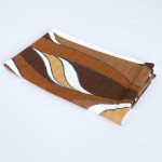 Flowing abstract design fabric in warm earth colours vintage 1970s