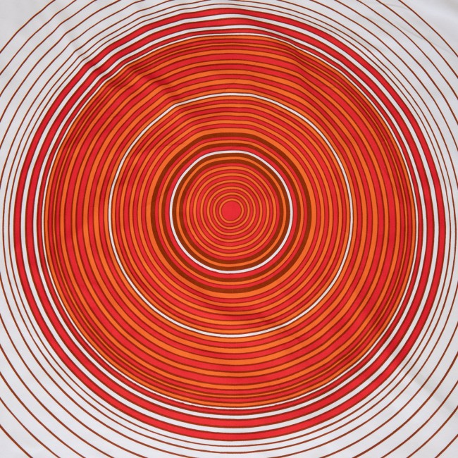 Concentric rings large circular target tablecloth made in Norway 60s/70s